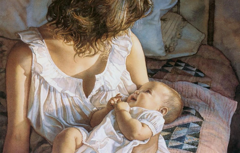 Фото обои нежность, малыш, мама