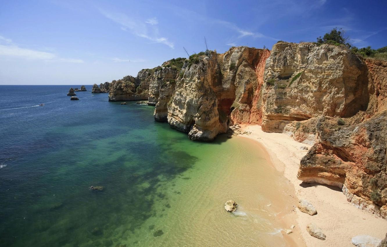 Фото обои песок, море, скалы, берег