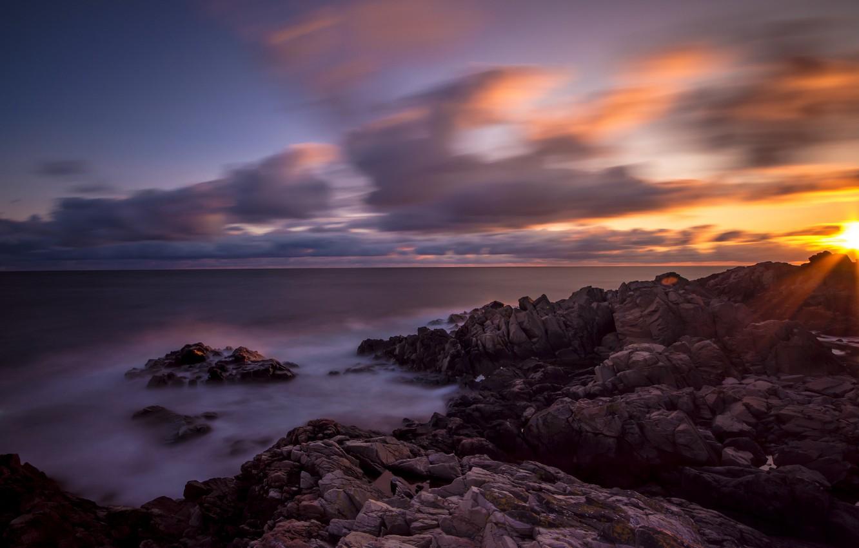 Фото обои пляж, океан, скалы, рассвет