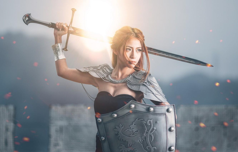 Фото обои девушка, меч, щит