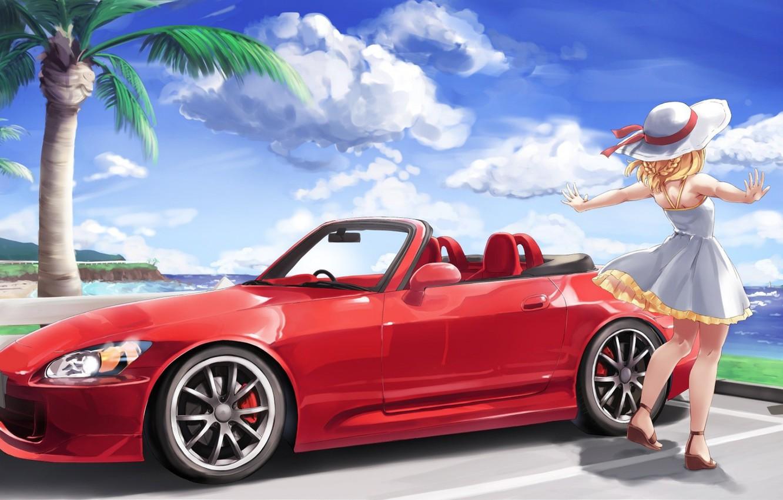 Фото обои Девушка, Машина, Аниме, Honda, Car, Автомобиль, S2000