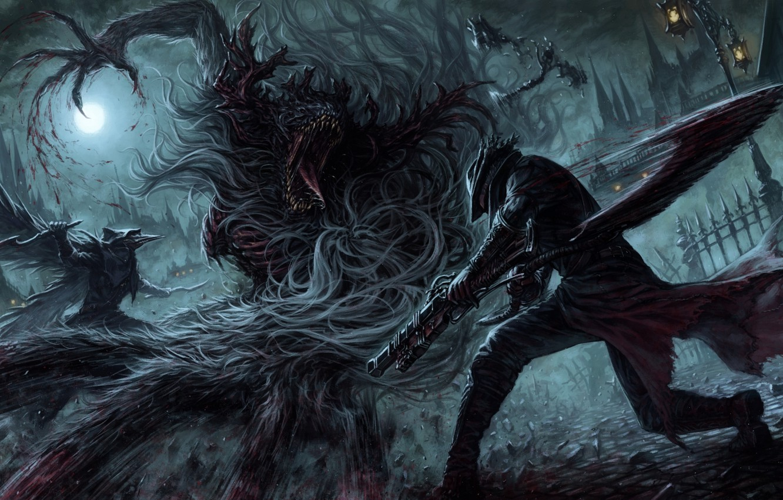 Фото обои ночь, оружие, луна, кровь, арт, мужчина, чудовища, the hunter, bloodborne, atelier road, cleric beast, eileen …