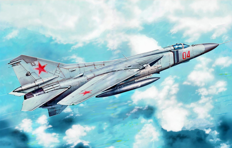 Фото обои war, art, painting, jet, MiG-23M