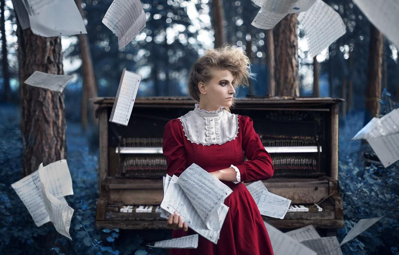 Фото обои девушка, ноты, музыка, пианино