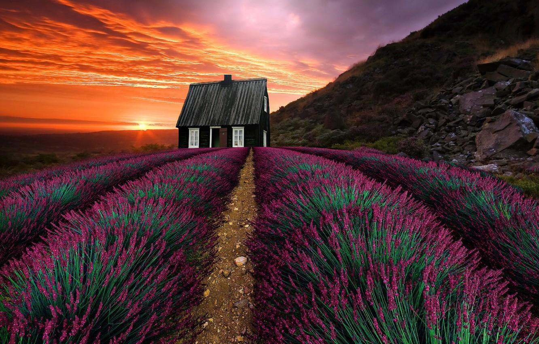 Фото обои пейзаж, закат, горы, природа, дом, растительность