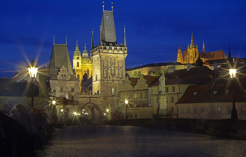 Фото обои ночь, огни, башня, Прага, Чехия, собор