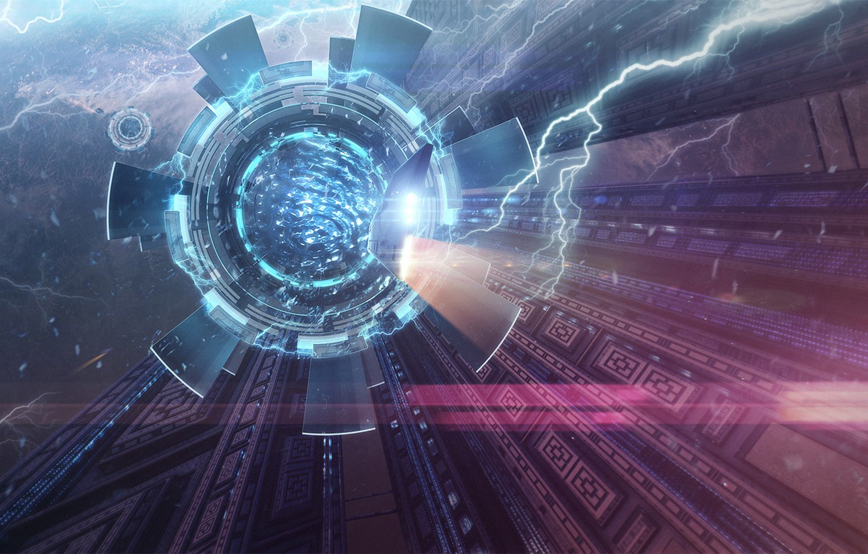 Фото обои космос, свет, фантастика, портал, art, spaceship