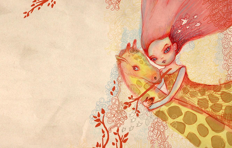 Фото обои девушка, розовый, объятия, жираф