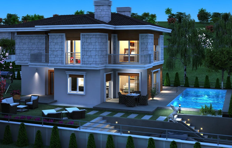 Обои бассейн, дизайн, ночь, особняк. Города foto 6