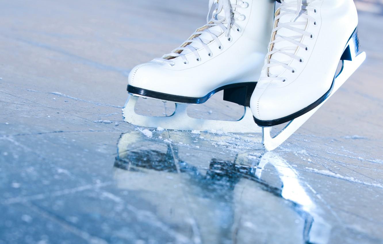 Фото обои лед, макро, каток, коньки