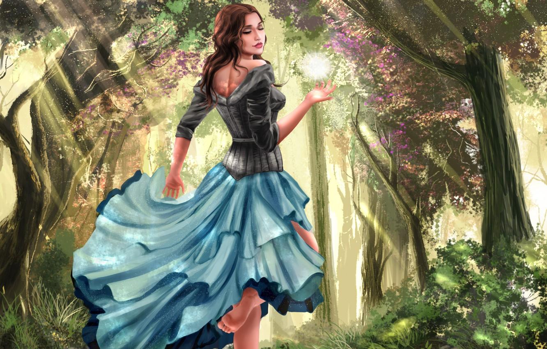 Фото обои лес, листья, девушка, свет, деревья, цветы, лицо, улыбка, ноги, волосы, шар, платье, арт, кудри