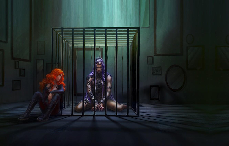 Фото обои девушка, арт, парень, fantasy, тюрьма, заключение