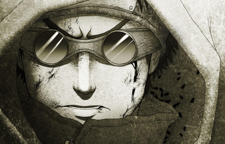 Фото обои рисунок, очки, капюшон, парень, naruto, linnyxito, aburame shino