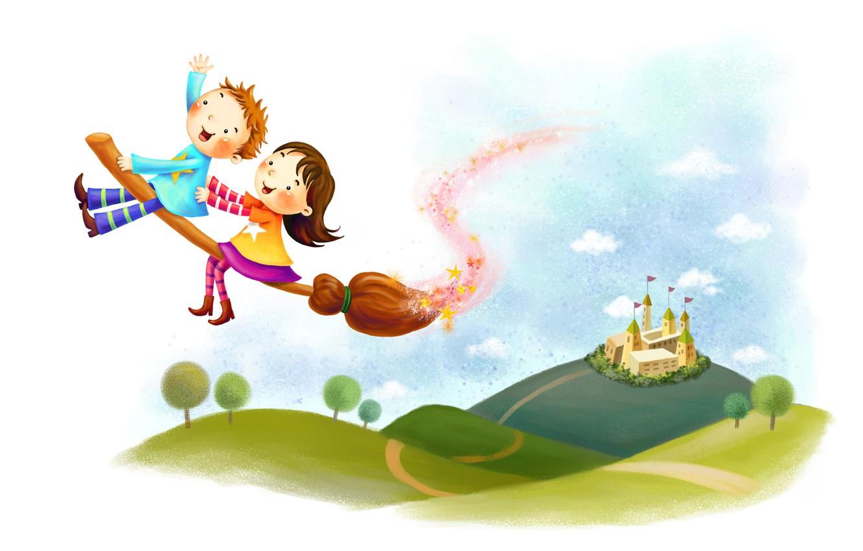 Фото обои облака, деревья, детство, замок, фантазия, холмы, волшебство, рисунок, мальчик, девочка, метла
