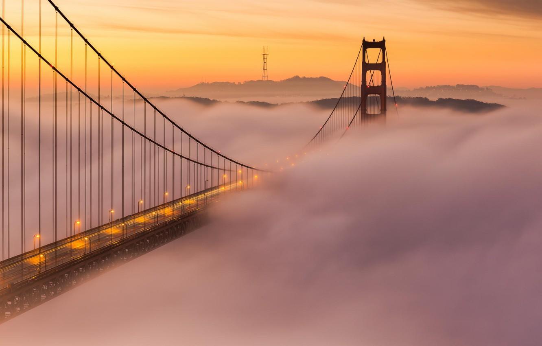 Фото обои облака, закат, мост, туман