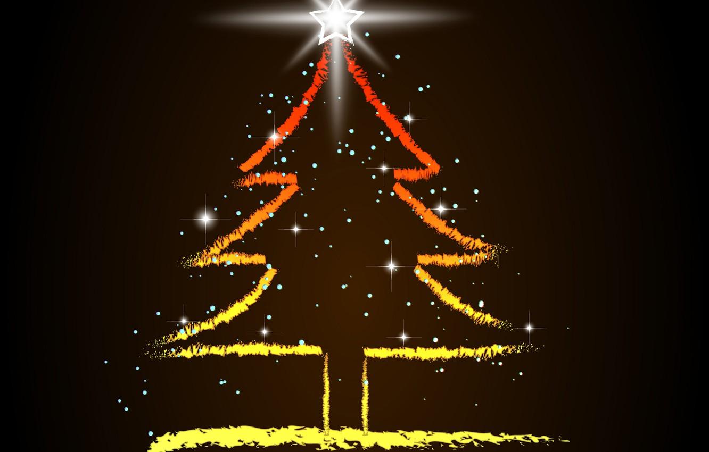 Фото обои праздник, звезда, ёлка, новый год.