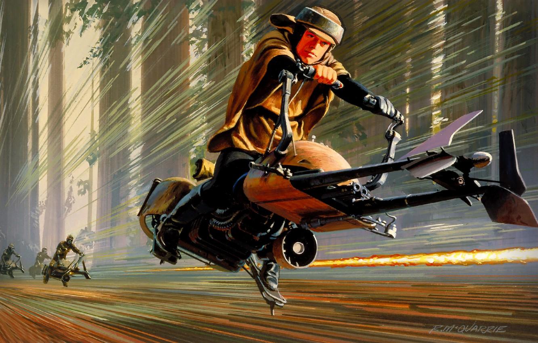 Фото обои Рисунок, Star Wars, Art, Звездные Войны, Movie, Speeder Bike