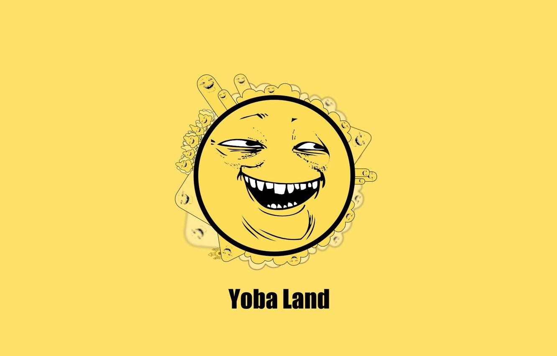 Фото обои улыбка, желтый фон, сладкий, ехидный сыр, Yoba, Безумный шар