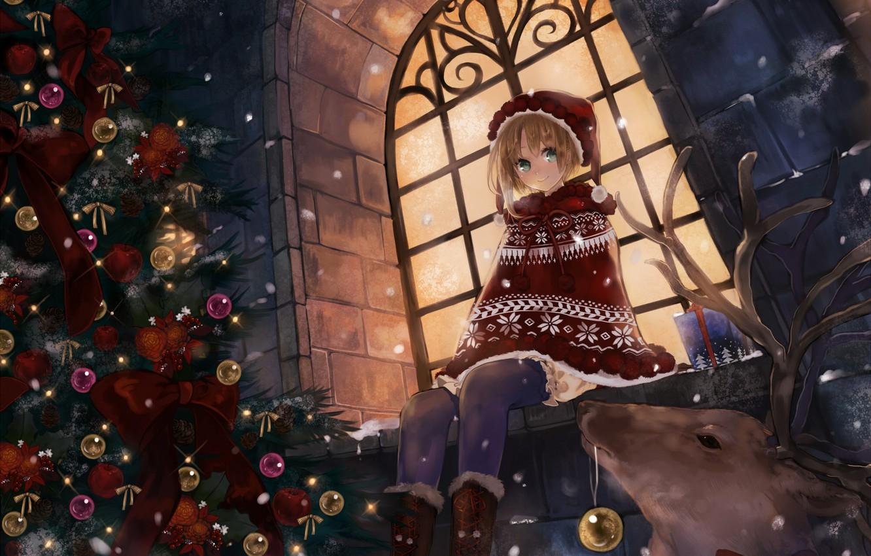 Фото обои зима, шарики, снег, украшения, снежинки, ночь, праздник, улица, игрушки, новый год, аниме, олень, окно, девочка, …