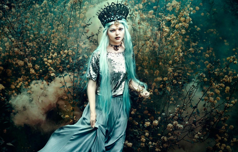 Фото обои девушка, цветы, дым, платье, Bella Kotak, In the wandering garden