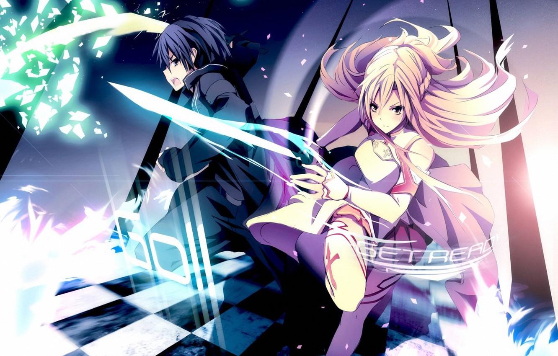 Фото обои девушка, магия, Аниме, парень, мечи, мастера меча онлайн, Sword Art Online, SAO, Асуна, искусство меча …
