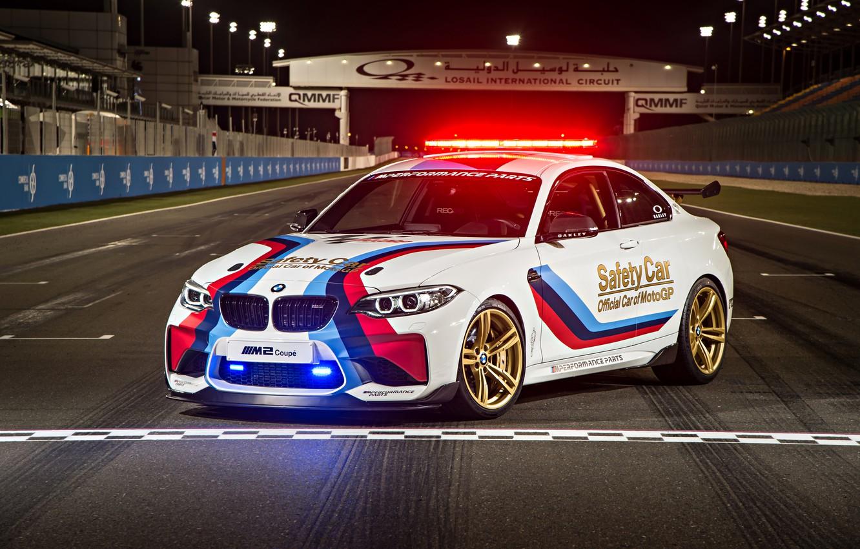Фото обои Белый, BMW, Тюнинг, Car, MotoGP, Coupé, Полицейский, Safety, 2016, (F87) Авто
