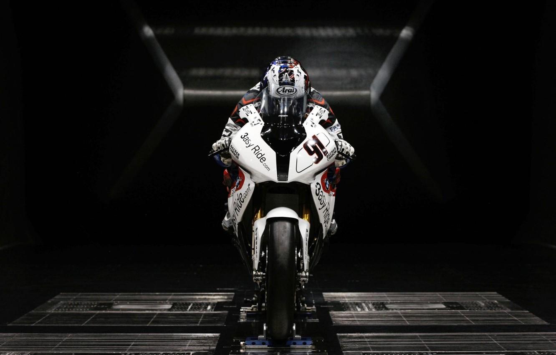 Фото обои белый, BMW, мотоцикл, спортивный, sportbike