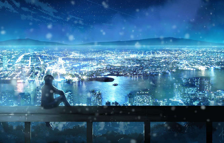 Фото обои небо, звезды, облака, пейзаж, ночь, город, огни, аниме, арт, парень, dias mardianto, donsaid