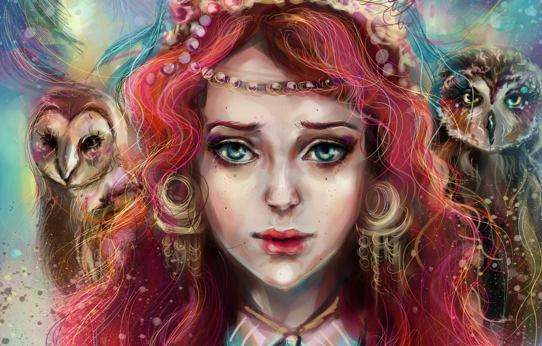 Фото обои взгляд, девушка, лицо, арт, girl, совы, art, manulys