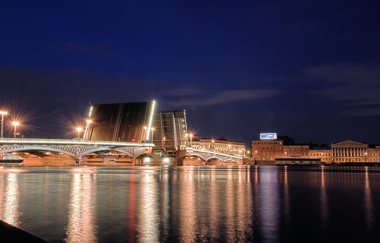 Фото обои ночь, Питер, Санкт-Петербург, Россия, Russia, bridge, night, Дворцовый мост, Neva river, Нева река, Saint-Peterburg