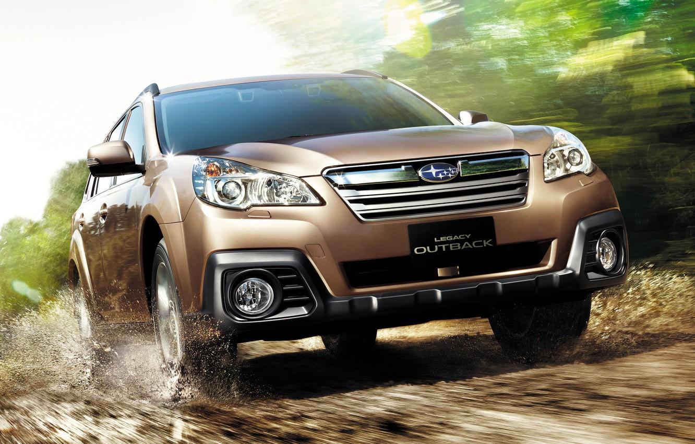 Фото обои Дорога, Subaru, Машина, Движение, Car, Автомобиль, Коричневый, Cars, Субару, Legacy, Road, Brown, Outback, Аутбек, Легаси