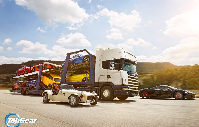 Фото обои Top Gear, Cars, Porsche 911, Truck, Scania, Trailer, Volkswagen Golf, Bentley Continental GT, BMW M4, …