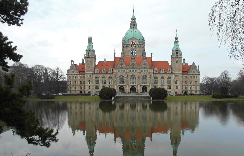 Обои германия, Пейзаж, Новая ратуша, ганновер, пруд. Города foto 7