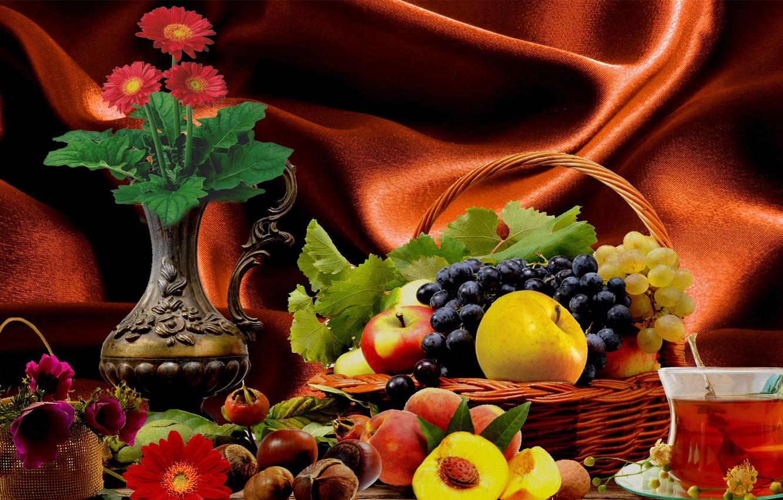 Фото обои цветы, чай, фрукты, Натюрморе