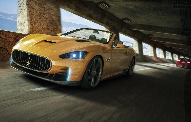 Фото обои Maserati, Желтый, Спорт, Кабриолет, Мазерати, Car, Front, GranTurismo, Перед, Yellow, Sport, Convertible, Кар, Гран Туризмо