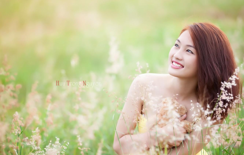 Фото обои лето, девушка, улыбка, азиатка