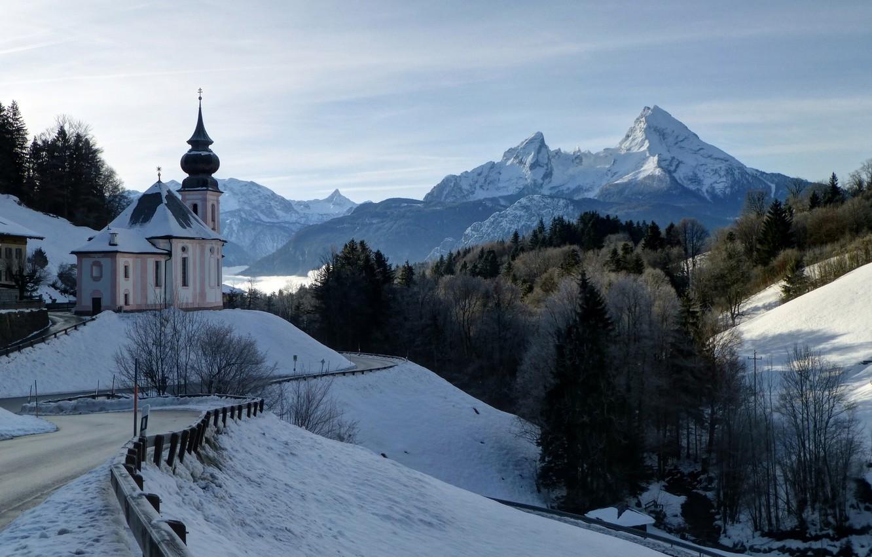 Фото обои зима, дорога, лес, горы, Германия, Бавария, Germany, Bavaria, Bavarian Alps, Баварские Альпы, Berchtesgaden, Берхтесгаден, гора …