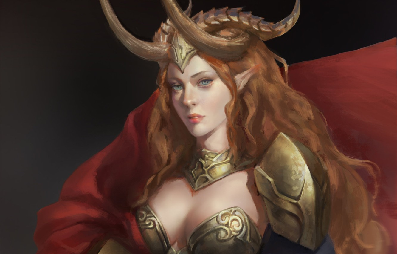 Фото обои взгляд, девушка, доспехи, арт, рога, броня, рыжие волосы