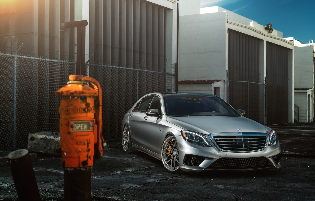 Обои Mercedes-Benz, Car, Front, AMG, Silver, Wheels, S63
