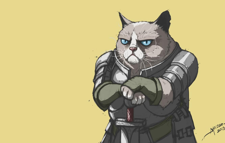 Фото обои Минимализм, Кот, Рыцарь, Cats, Knights