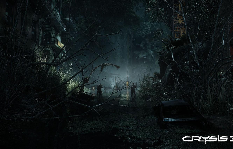 Фото обои свет, ночь, ветки, город, болото, солдаты, развалины, кусты, crysis 3