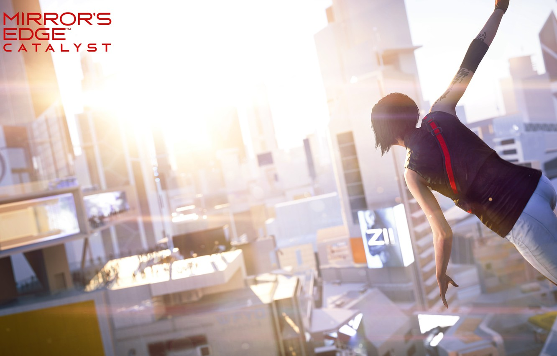 Фото обои девушка, солнце, город, игра, вид, Mirror's Edge: Catalyst