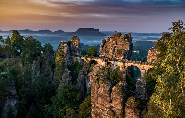 Фото обои Germany, Saxon Switzerland, Bastei Bridge