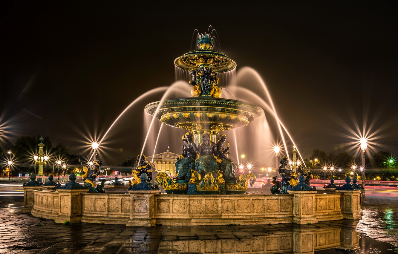 Фото обои дорога, ночь, огни, Франция, Париж, фонари, лужи, фонтан, скульптуры, Fontaines de la Concorde