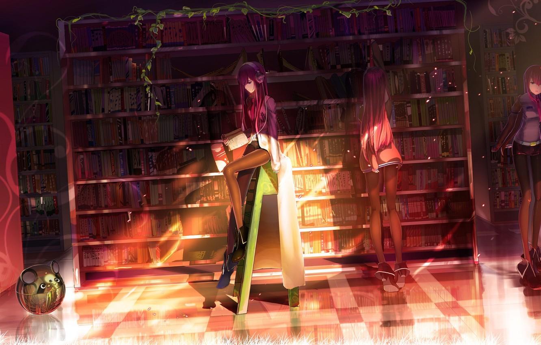 Фото обои девушка, свет, книги, робот, наушники, библиотека, steins gate, makise kurisu