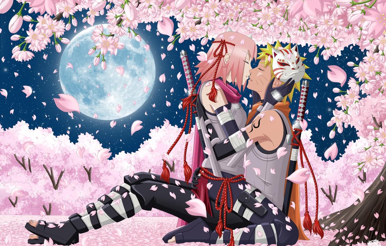 Фото обои небо, девушка, звезды, деревья, цветы, ночь, оружие, луна, поцелуй, катана, аниме, лепестки, сакура, маска, арт, …