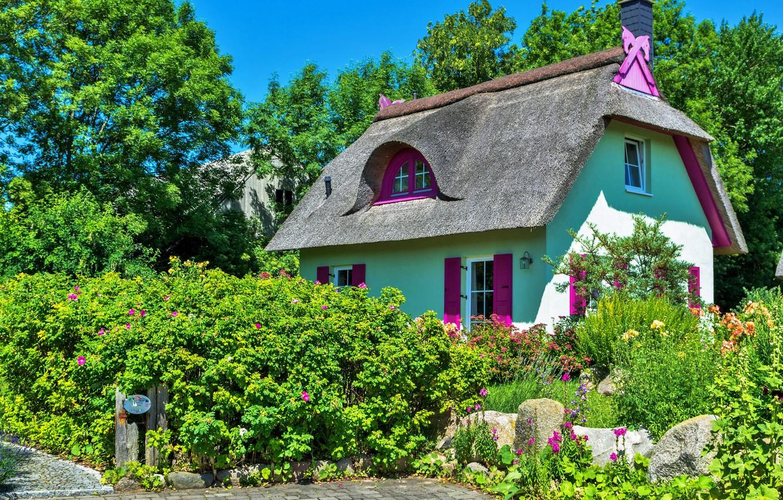 Фото с домиком и цветущим садом