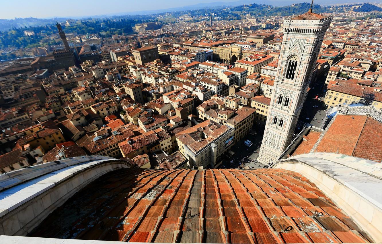 Обои собор санта-мария-дель-фьоре, купол, флоренция, дома, колокольня Джотто. Города foto 8