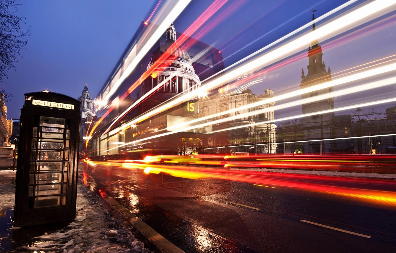 Фото обои дорога, свет, город, улица, англия, лондон, выдержка, лужи, будка