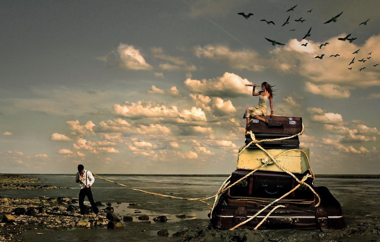 Фото обои море, девушка, ситуация, парень, чемоданы